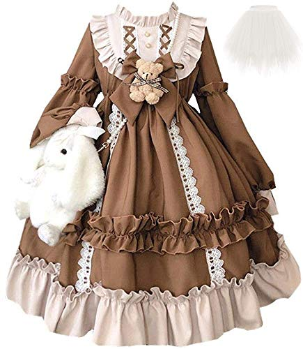 Topin Lolita Princess Dress Kawaii Long Sleeves Sweet Girl Chiffon Fancy Dress