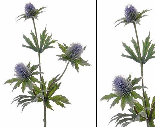 Distel Zweig, mit 3 Blüten, Länge ca. 40cm - künstlicher Distel Zweig Kunstpflanze Kunstblumen künstliche Blumen mit 3 Blüten kunstpflanzen-discount.com
