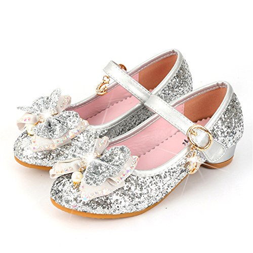 Super frist Girls Kids Dress up Wedding Cosplay Princess Shoes Sparkling Mary Jane Low Heel Shoes-(Silver-11.5 M US Little Kid) (Shoes Jane Pump Mary Sole)