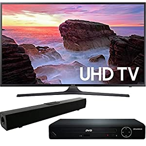 Samsung UN43MU6300 43-Inch 4K Ultra HD Smart LED TV (2017 Model) with HDMI 1080p High Definition DVD Player and Solo X3 Bluetooth Sound Bar Bundle