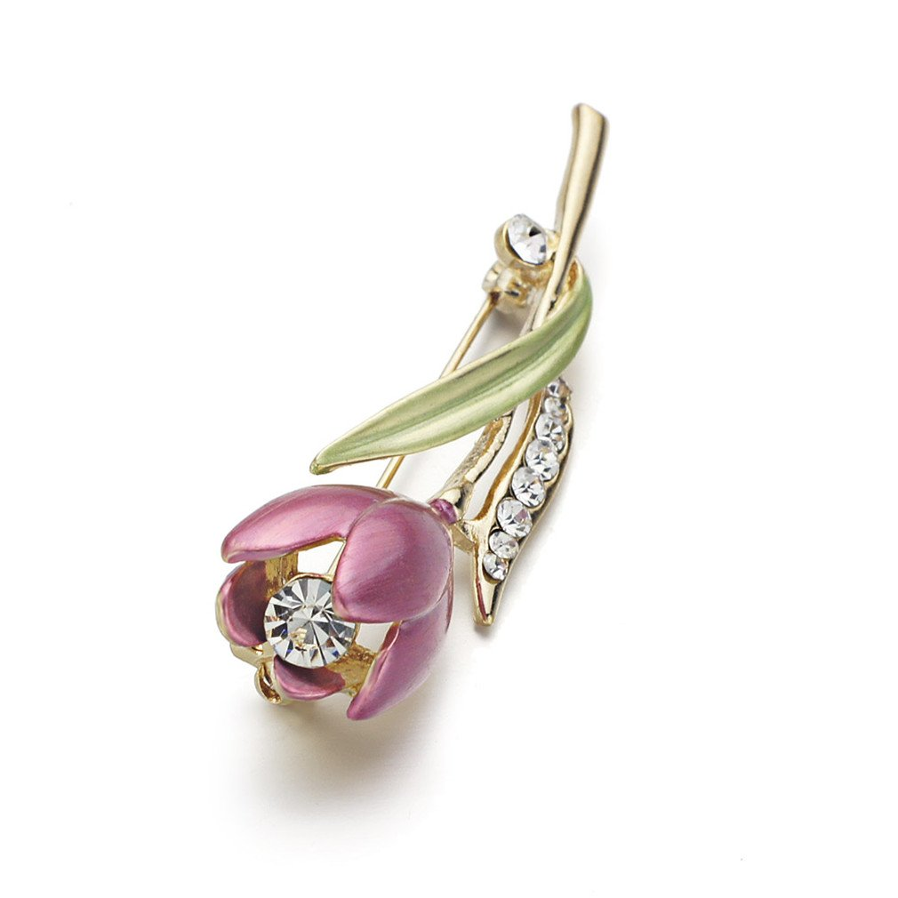 Sceneryero Elegant Tulip Flower Brooch Pin Crystal Costume Jewelry Clothes Accessories Jewelry Brooches For Wedding Z014