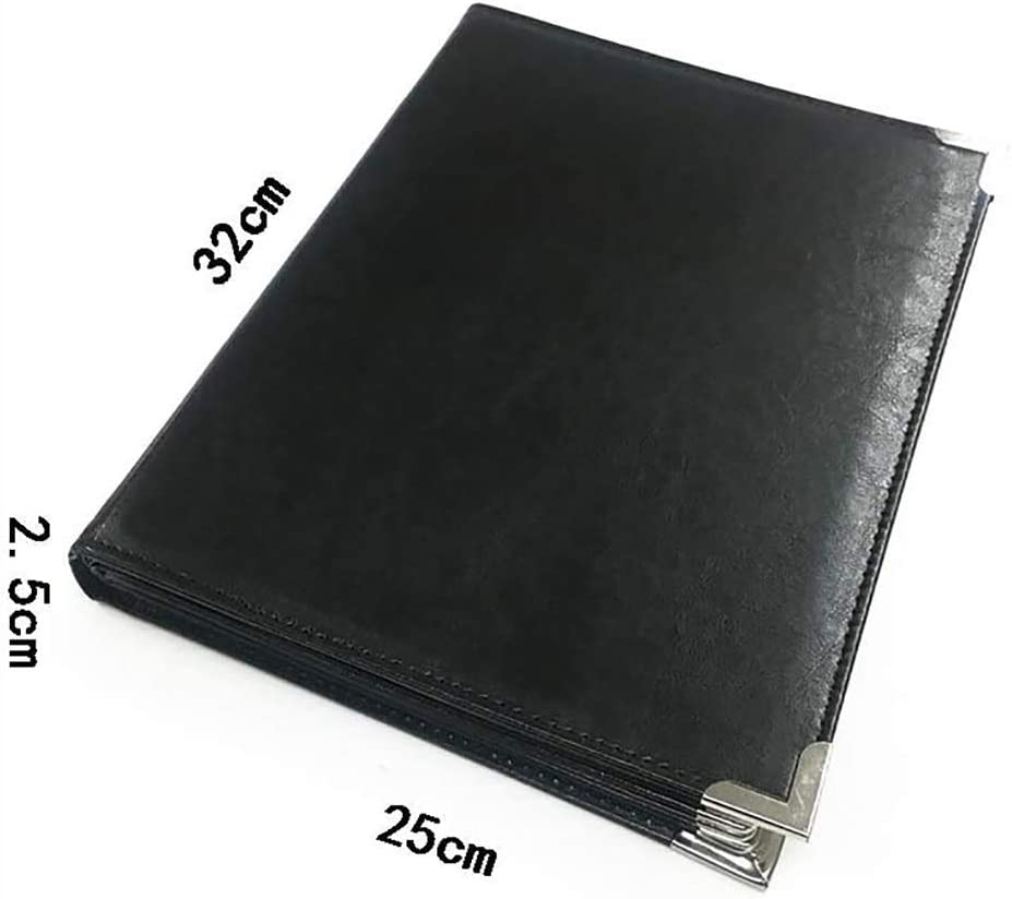 Imitation Leather+PVC+Metal File Cabinets Shop Page flip Folder a4 Black with 6 Panels and 12 Pockets for Hotel School Office Financial Storage Folder 32 25CM