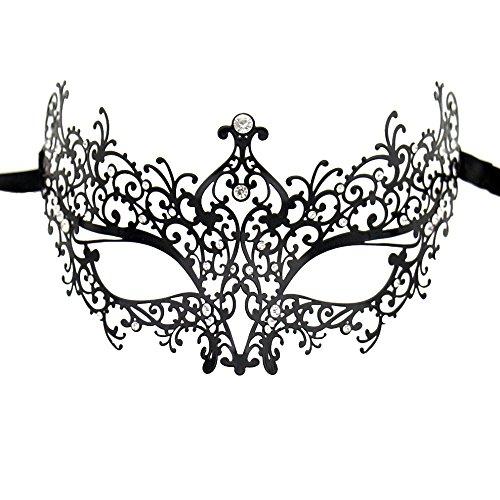 Xvevina Women's Rhinestones Metal Luxury Venetian Laser Cut Masquerade Filigree Mask (Black Metal/Clear Stones)