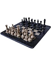 RADICALn Completely Handmade Original Black and Coral Marble Chess Board Game Set Two Players Full Chess Game Table Set