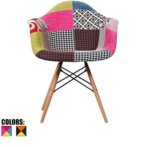 Leg Wood Seat - 2xhome - Eames Style Armchair Natural Wood Legs Eiffel Dining Room Chair - Lounge Chair Arm Chair Arms Chairs Seats Wooden Wood Leg Dowel Leg Legged Base (Patchwork A)