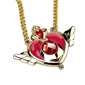 Cosplay Sailor Moon Tsukino Usagi Pendant Necklace Heart Wings Chain Locket Gift