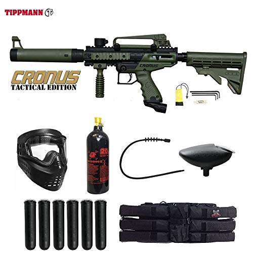 MAddog Tippmann Cronus Tactical Paintball Titanium Paintball Gun Package - Black/Olive ()