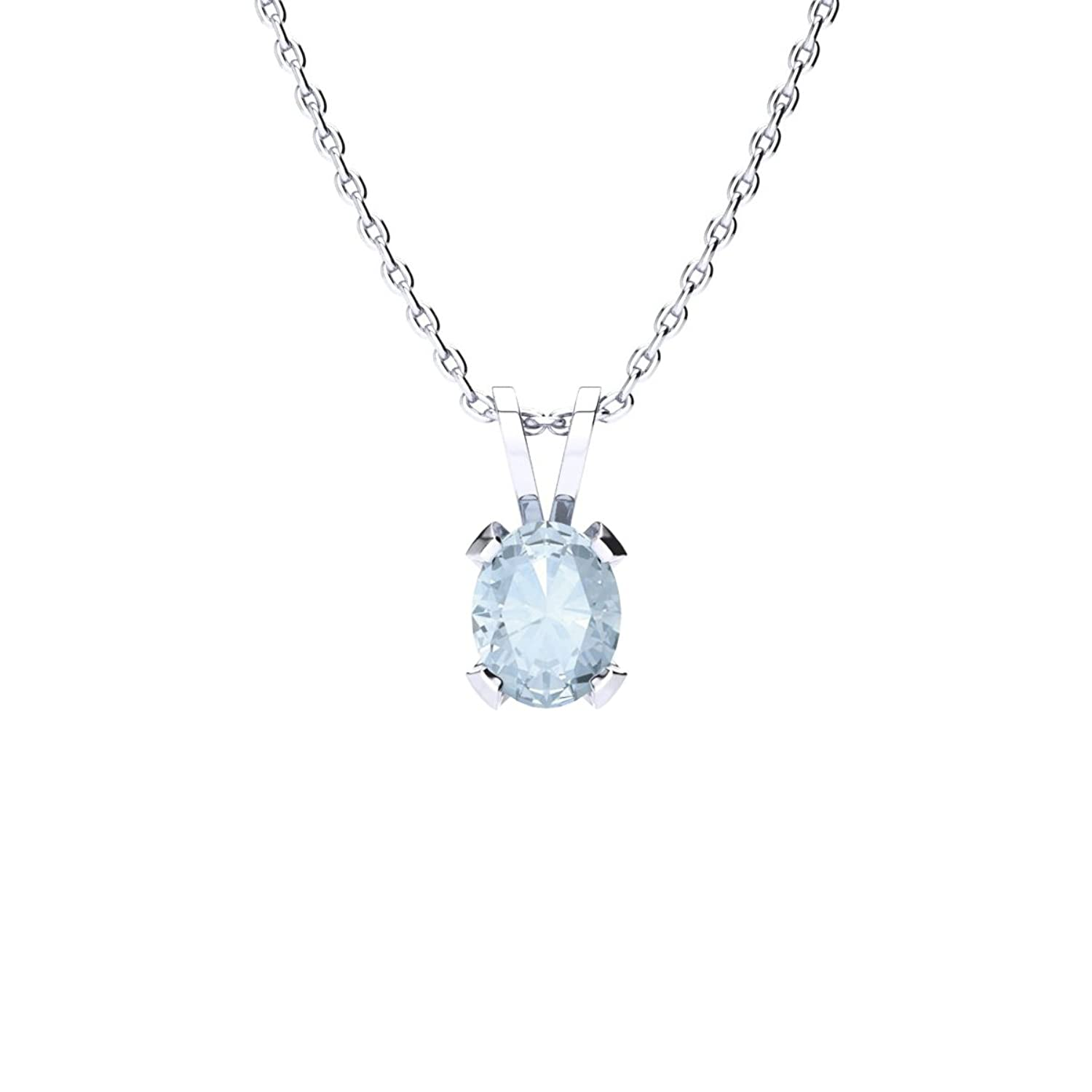 3/4 Carat Oval Shape Aquamarine Necklace Available In Yellow Gold, Rose Gold and 925 Sterling Silver, 18 Inches