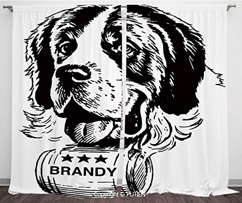 Satin Window Drapes Curtains [ Man Cave Decor,Sketch of Saint Bernard Rolling a Keg of Brandy Whiskey Stars Retro Decorative,Black and White ] Window Curtain Window Drapes for Living Room Bedroom Dorm