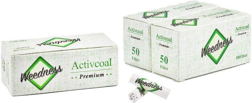 Weedness Filtro de carbón Activo Slim 3x50 Puntas activas 150 Piezas - 7 mm Puntas de Filtro de Rosca Filtro Tips Papel de Fumar Smoking Rolling Filter Tip