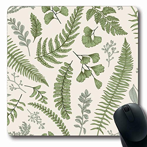 (Ahawoso Mousepads Foliage Green Fern Floral Pattern Vintage Leaves Engraving Leaf Eucalyptus Plant Herb Design Etching Oblong Shape 7.9 x 9.5 Inches Non-Slip Gaming Mouse Pad Rubber Oblong Mat)