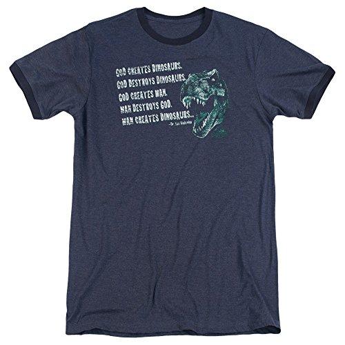 Jurassic Park God Creates Dinosaurs Unisex Adult Ringer T Shirt for Men and Women, Large - T-shirt Dinosaur Ringer