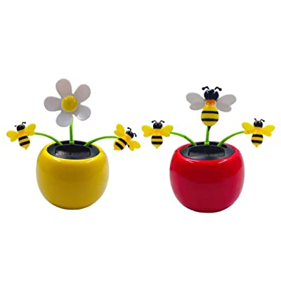 Amosfun 2pcs Solar Powered Dancing Flower Sunflower Car Decor Toy Gift Dashboard Office Desk Home Decor (1pc Red and 1pc Yellow Bee): Home & Kitchen