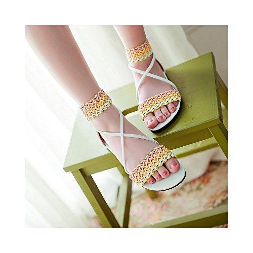 Sandalias planas de los estudiantes dulce del verano yardas grandes Blanco