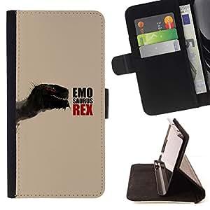 Momo Phone Case / Flip Funda de Cuero Case Cover - Emosaurus Rex - Funny Dinosaur - Huawei Ascend P8 (Not for P8 Lite)