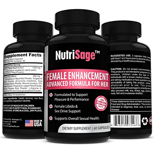 NutriSage Libido Enhancer For Women – Advanced Female Enhancement Formula With Horny Goat Weed – Most Effective, Natural Libido Supplement That Boosts Low Libido, Skyrockets Sex Drive & ()