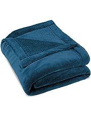 CelinaTex Montreal gosig filt XXL 220 x 240 cm blå korall fleece filt mikrofiber överkast soffa filt