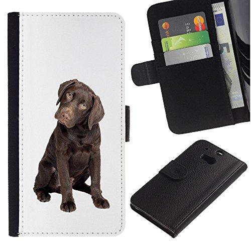 EuroCase - HTC One M8 - chocolate Labrador retriever puppy dog - Cuero PU Delgado caso cubierta Shell Armor Funda Case Cover