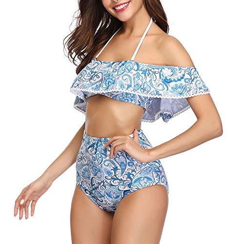 ROPALIA Zweiteiliges Badeanzug-Set für Damen mit niedriger Taille Bikini mit hoher Taille und Einer Schulter Blue (Damen Alles In Einem Badeanzug)