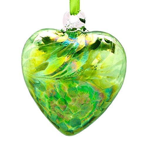 (August Peridot 8cm Birthstone Glass Heart)