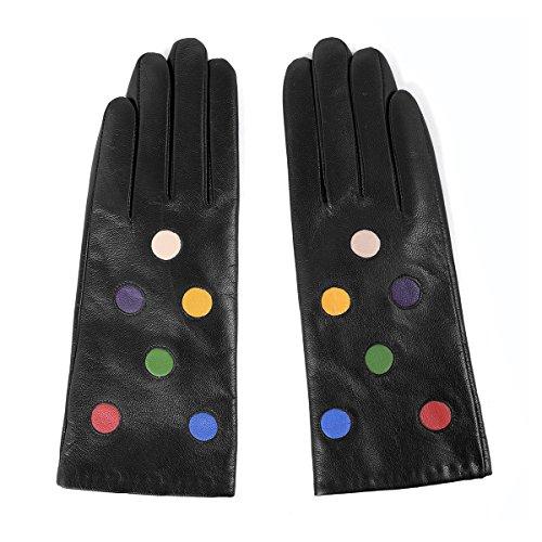 MATSU Women Lady's Lambskin Leather Winter Warm Wool Lined Fashion Gloves ()