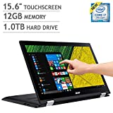 "Acer Spin 3 15.6"" FHD IPS (1920 x 1080) Multi-Touch LCD panel Screen 2-in-1 Laptop - Intel Dual-Core i7 -7500U 2.7GHz 1080p, 12GB DDR4, 1TB 5400RPM HDD, Intel HD 620 Graphics, Windows 10-Shale Black"