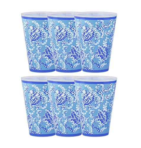 Lilly Pulitzer 14 Ounce Reusable Plastic Pool Cups, Set of 6 (Turtley Awesome)