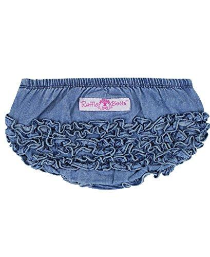 RuffleButts Infant / Toddler Girls Denim Ruffled Diaper Cover - Light Denim - 6-12m (Denim Bloomers For Infant)