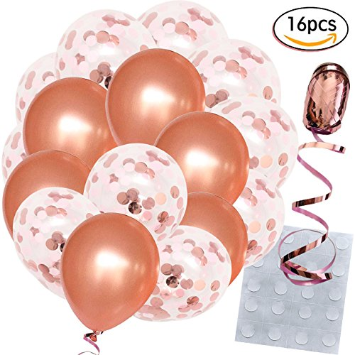 Peach Birthday Roses - Rose Gold Confetti Balloons - Large 18 Inch - 16 Pcs Bundled with Ribbon 100ft and Glue Dots x 20 - For Bridal Shower, Birthday, Engagement, Proposal, Wedding Party Decorations - Premium Quality Latex