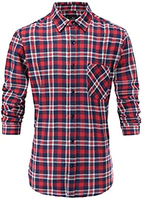 Emiqude Men's 100% Cotton Stylish Slim Fit Long Sleeve Plaid Dress Shirt
