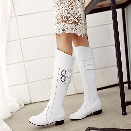 Carolbar Mujeres Multi Buckle Fashion Comfort Low Heel Tall Vestido Botas De Moto Blanco