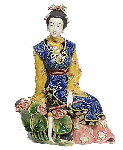 - Handmade Porcelain Lady Figurine Chinese Ceramic Lady on Lotus