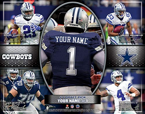 Personalized Dallas Cowboys Wall Poster, Unframed Jersey Print 12x16 ()