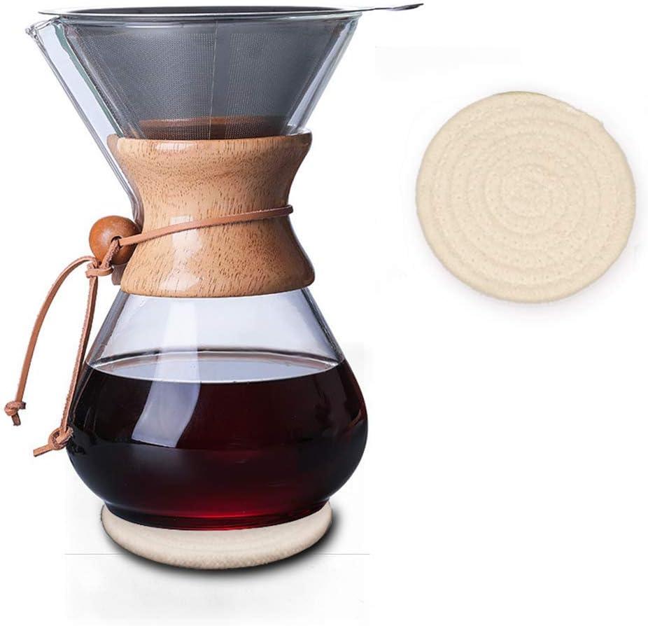 Cafetera de cuello de madera con filtro permanente y almohadilla ...