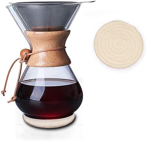 Cafetera de cuello de madera con filtro permanente y almohadilla posavasos 800 ml: Amazon.es: Hogar
