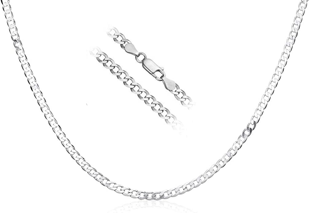 ENYU 4mm Curb Mens Necklace Silver Plated Chain Cuban Neck Link Chains for Men Man Women Boys Kids 22 inch,Stainless Steel Jewellery