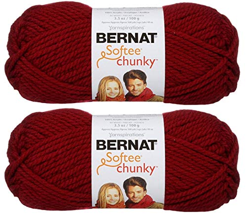 - 2-Pack - Bernat Softee Chunky Yarn, Wine