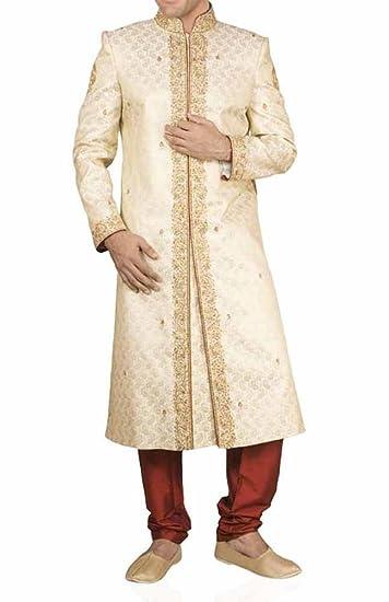 8c84bb687d1 INMONARCH Mens Brocade Beige Wedding Sherwani SH200  Amazon.co.uk ...