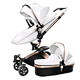 Cheap Binglinghua Newborn Baby Stroller Leather Carriage Infant Travel Car Foldable Pram Pushchair (White)
