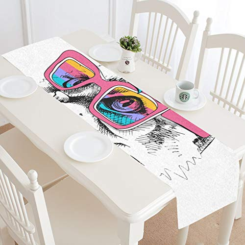 WIEDLKL Cute Cat Unicorn Mask Rainbow Glasses Table Runner Kitchen Dining Table Runner 16x72 Inch for Dinner Parties Events Decor -