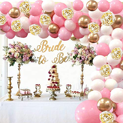 Pink Balloon Arch Kit Balloon Garland - 134 Pieces White Gold Confetti Pink and Gold Balloons for Baby Shower Party Birthday Wedding Graduation Background Decorations