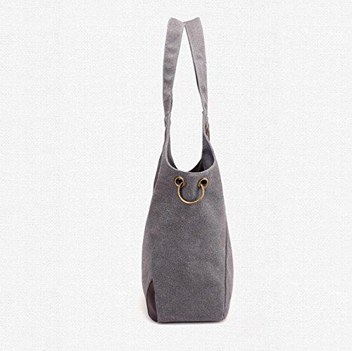 Mujer El Nuevo Lienzo Europa Moda Simple Transpirable Bolsas De Hombro Bolsos De Gran Capacidad Bolsa Grey