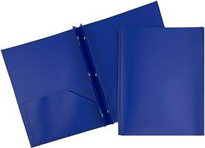JAM PAPER Plastic 2 Pocket School POP Folders with Metal Prongs Fastener Clasps - Dark Blue - 6/Pack