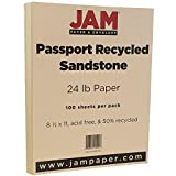 JAM Paper Recycled Paper - 8 1/2'' x 11'' - 24lb Passport Sandstone Beige - 100 Sheets/pack