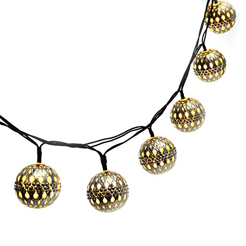 LUCKLED 11ft 10 LED Moroccan Ball Solar String Lights, Fairy