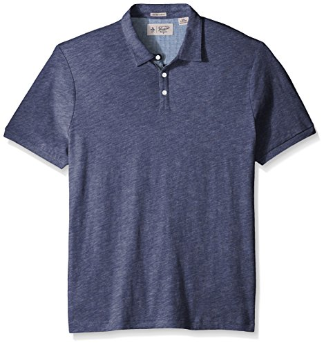 Original Penguin Men's Short Sleeve Slub Jersey Polo Shirt, Vintage Indigo, Small - Jersey Vintage Polo Shirt