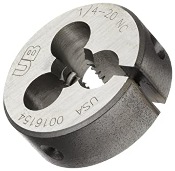 """Union Butterfield 2010(UNC) Carbon Steel Round Threading Die, Uncoated (Bright) Finish, 1"""" OD, 1/4""""-20 Thread Size"""