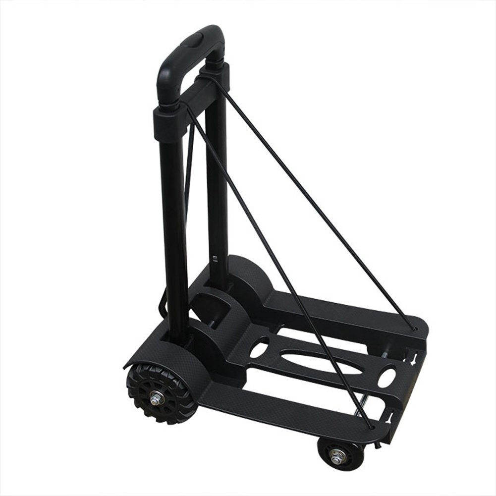 Folding Hand Truck With Strong Load Capacity Hold Up Luggage Shopping Trolley Carts With Extendable Handle Flexible Bungee For Moving Heavy Items