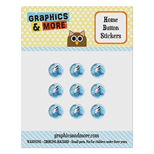 Set of 9 Puffy Bubble Home Button Stickers Fit Apple iPod Touch, iPad Air Mini, iPhone 4/4s 5/5c/5s 6/6s Plus - Sea Ocean Life - Dolphin in the ()