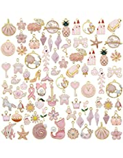 JJG 40pcs(20PAIRS) Assorted Gold Plated Enamel Animals Fruit Moon Star Dainty Dangle Flowers Pendants Charms for Jewelry Making Necklace Bracelet